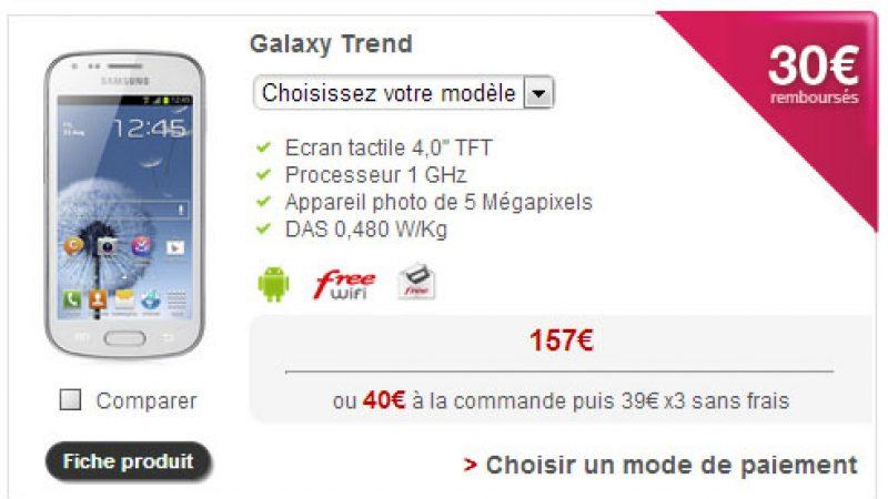 Free Mobile : une offre de remboursement sur le Galaxy Trend