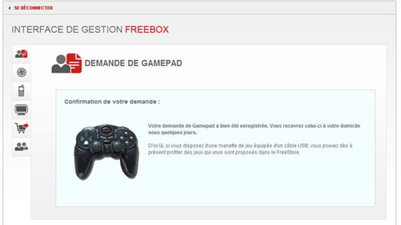 L'envoi du gamepad Free disponible sur l'interface abonné !