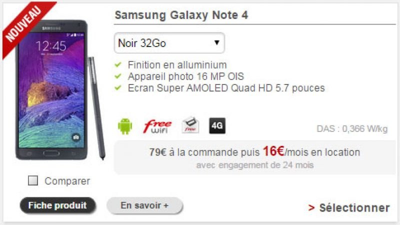 Free Mobile : le Galaxy Note 4 disponible en location à 16€/mois
