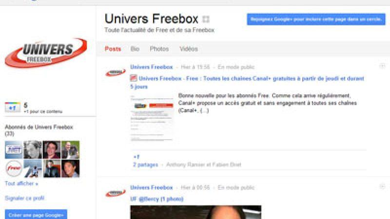 Univers Freebox lance sa page Google+ et est toujours disponible sur iPhone, Android, Twitter, etc..