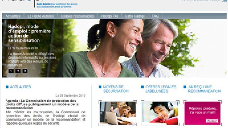 Le site web de l'Hadopi est lancé