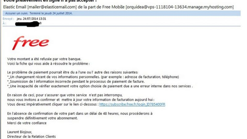 Nouvelle attaque Phishing en cours visant les Freenautes