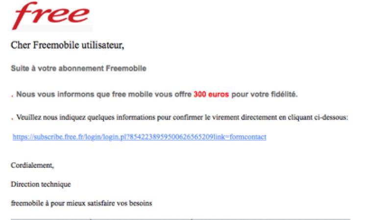 Nouveau phishing Free Mobile en cours : une pseudo offre de 300 €