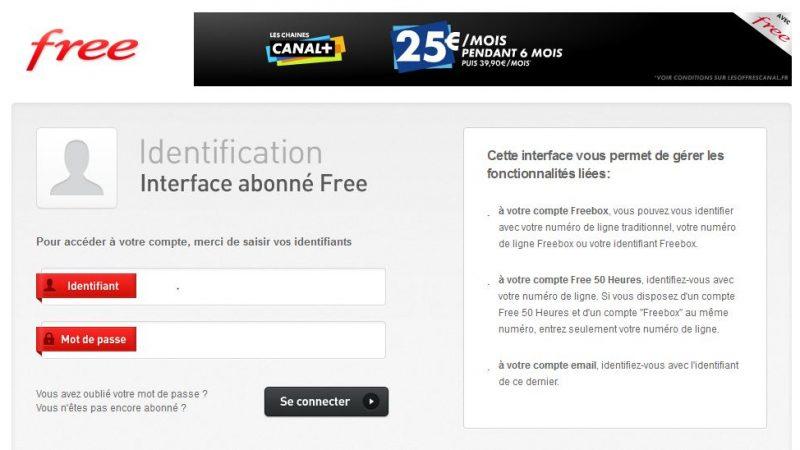 La page d'accès à votre interface de gestion Free a changé.