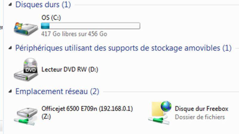 Astuce : Utilisez simplement le disque dur de la Freebox avec Windows 7