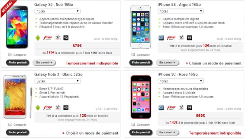 """Boutique Free Mobile : le chassé-croisé des terminaux """"indispos"""", le Galaxy S5 Noir déjà impossible à commander"""