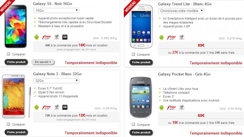 Boutique Free Mobile : les terminaux Samsung victimes de leur succès