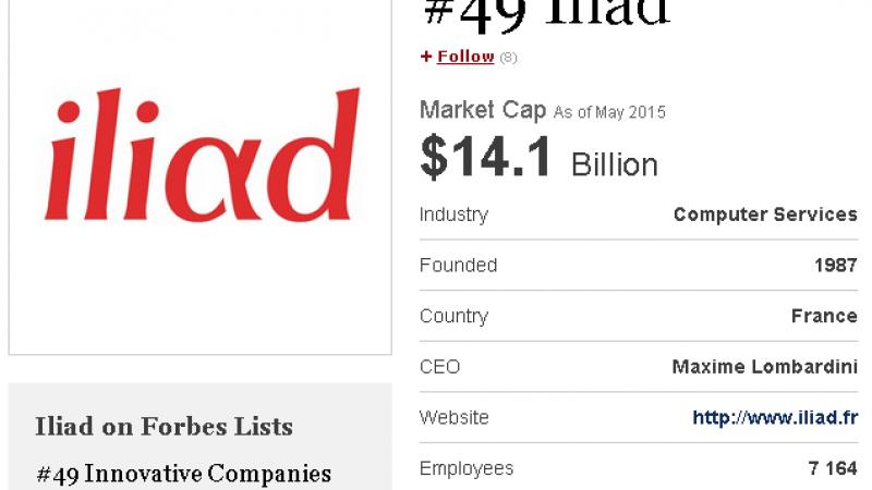 Iliad, dans le TOP 50 des entreprises mondiales les plus innovantes, selon Forbes