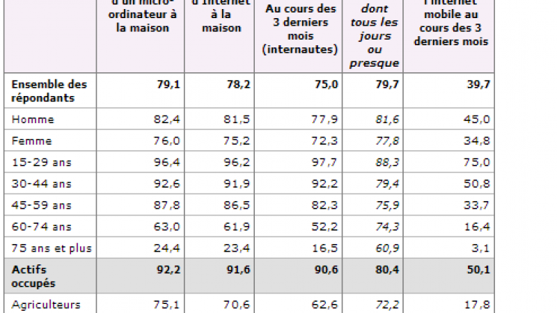 L'internet fixe et mobile se démocratise encore selon l'INSEE