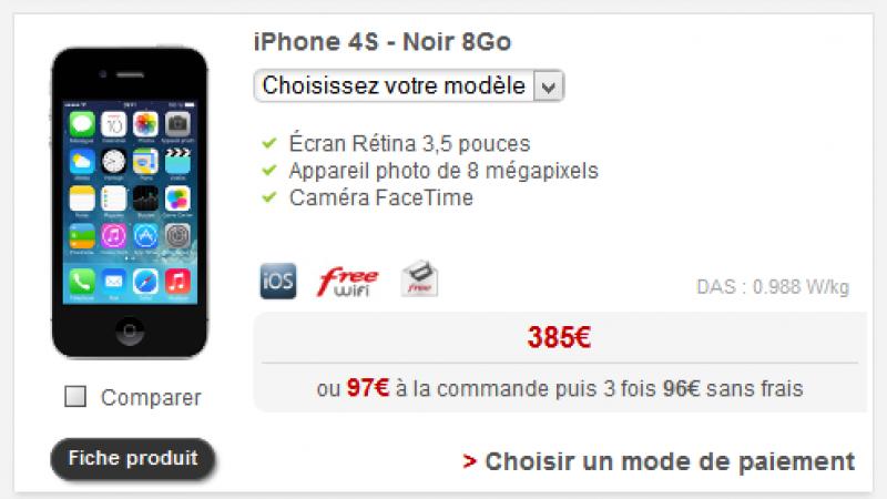 Free Mobile ne propose plus l'iPhone 4S dans l'offre de location de smartphones