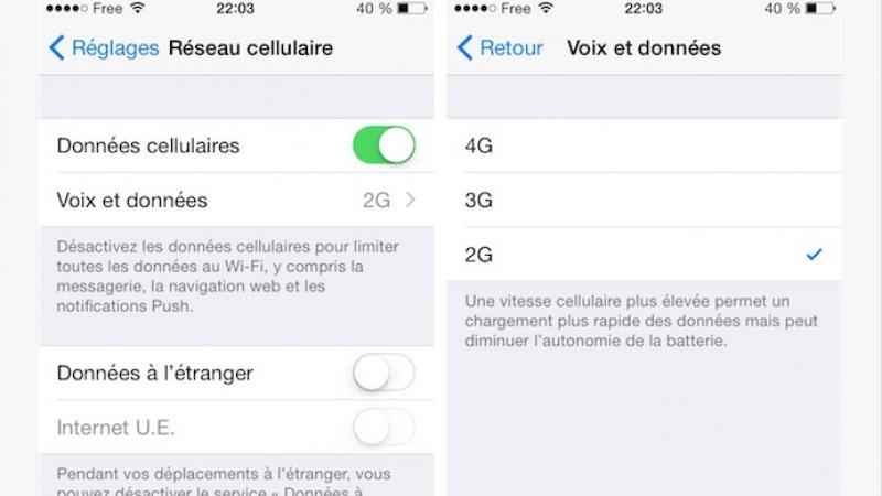 iOS 8.1 : le choix du réseau 2G/3G/4G sur iPhone 5 pour Free Mobile