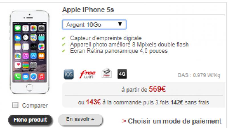 Boutique Free Mobile : l'iPhone 5C revient en location, l'iPhone 5S  ne l'est plus