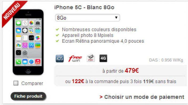 La nouvelle version de l'iPhone 5c avec 8Go disponible chez Free Mobile