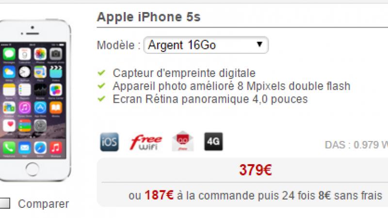 Free baisse fortement le tarif de l'iPhone 5S