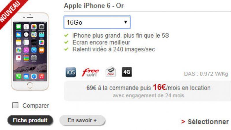 Free Mobile : l'iPhone 6 désormais disponible en location, à 16€/mois