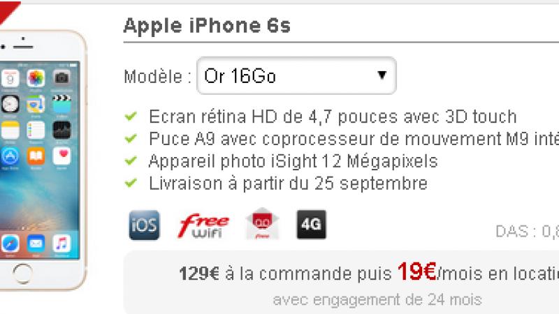 L'iPhone 6s désormais disponible en location chez Free Mobile à 19€/mois