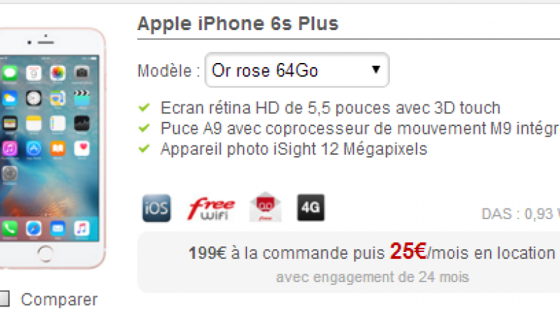 Nouveau smartphone en location chez Free Mobile : l'iPhone 6S Plus