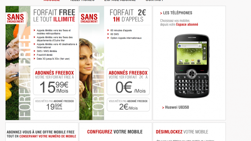 Le site d'inscription Free Mobile est disponible