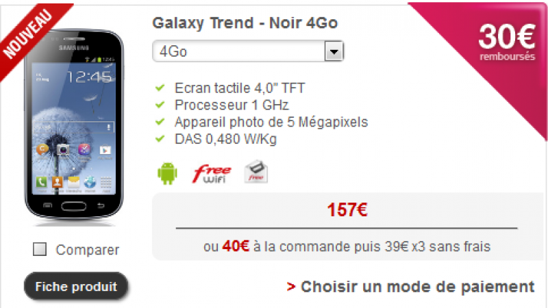 Nouveau modèle de téléphone sur la boutique Free Mobile avec une ODR de 30€