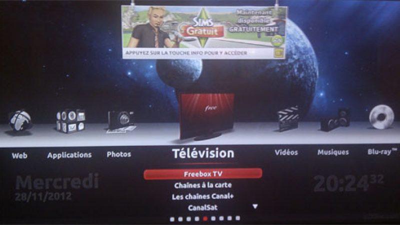 La Freebox Révolution met en avant le jeu Les SIMS sur l'interface TV