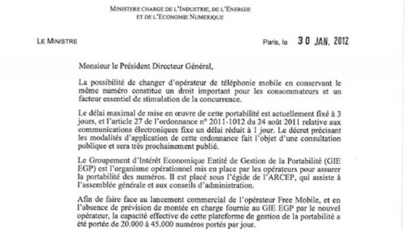 Eric Besson demande au GIE de respecter le délai de la portabilité afin de mettre fin aux retards