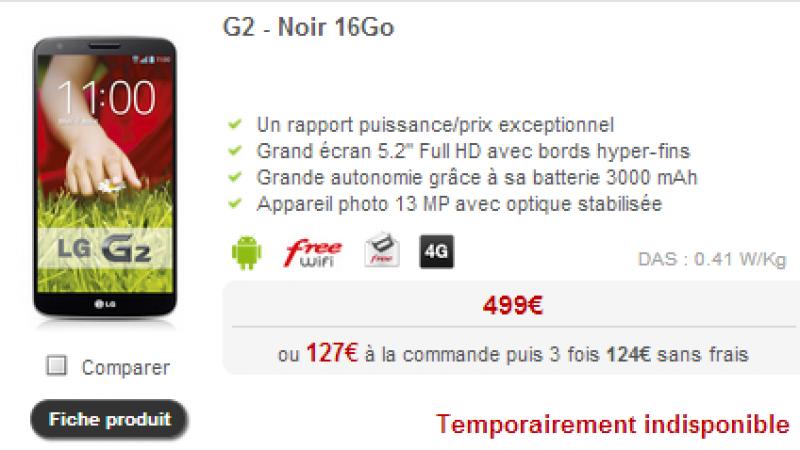 [MàJ]  le LG G2 n'est plus vendu par Free Mobile