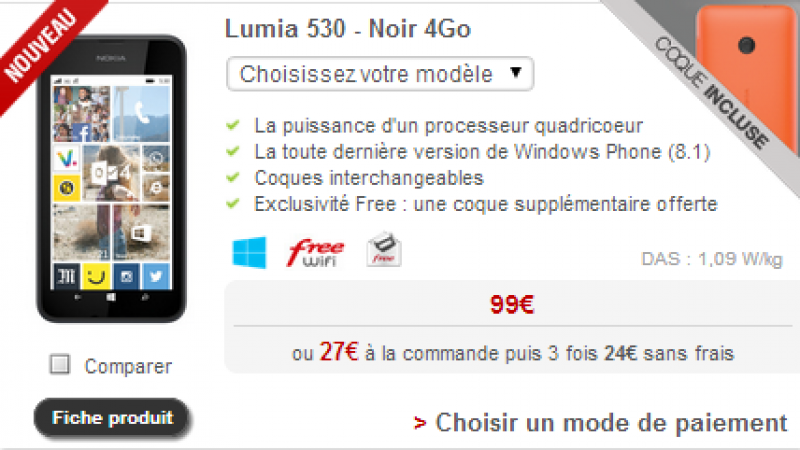 Boutique Free Mobile : un nouveau Nokia Lumia proposé à la vente