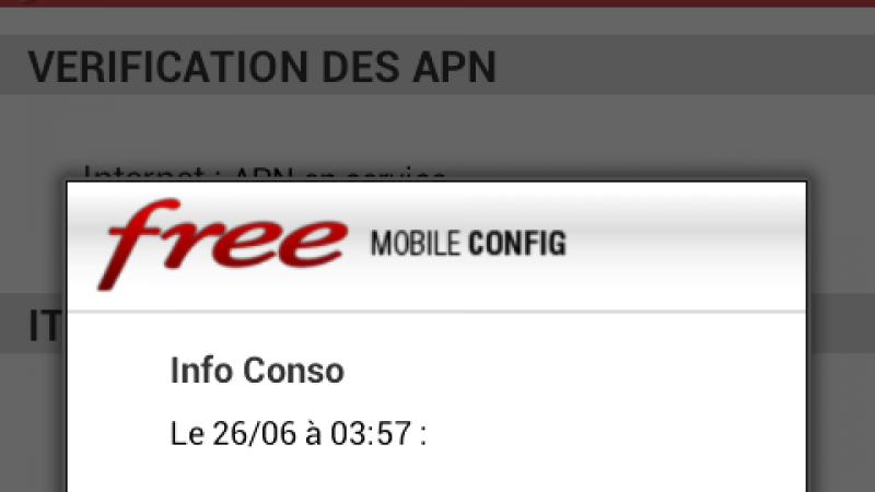 Free rend disponible l'info conso sur l'application officielle Mobile Config