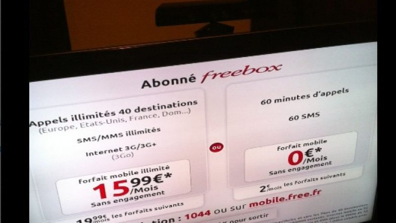 Free présente ses forfaits mobiles sur le téléviseur via les Freebox HD