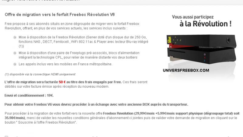 La migration de la Freebox Crystal à la Freebox Révolution est maintenant facturée 50€