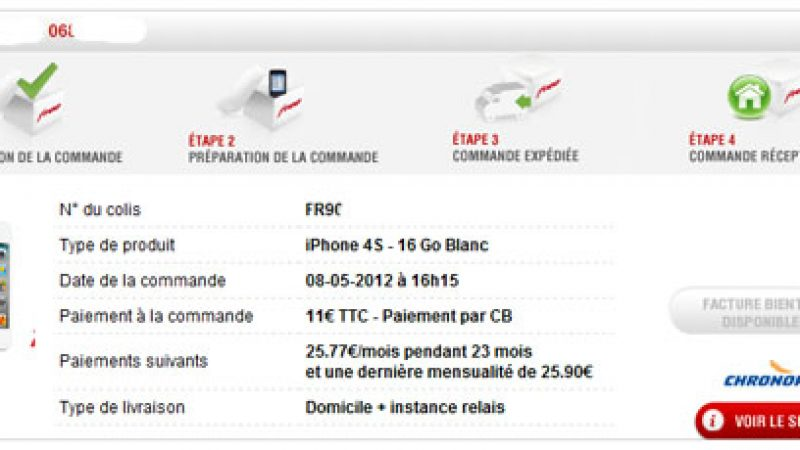 La facture d'achat d'un terminal Free Mobile disponible dans l'interface abonné
