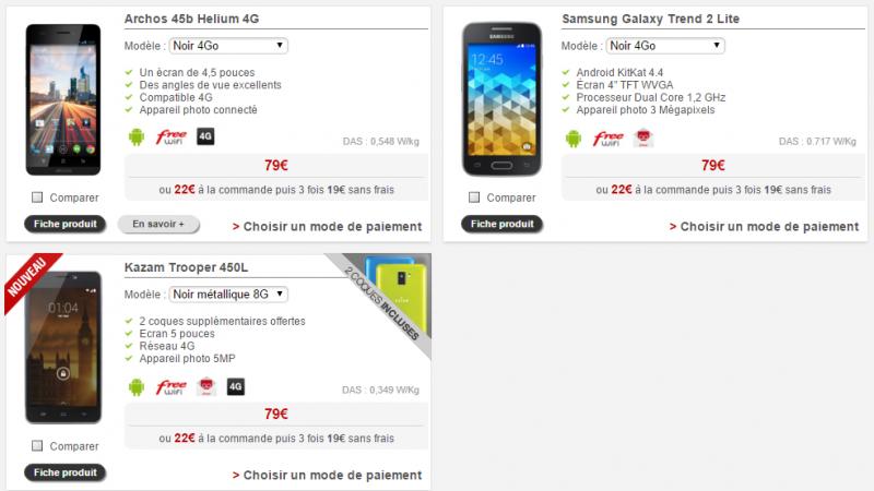 Boutique Free Mobile : deux smartphones d'entrée de gamme disparaissent.