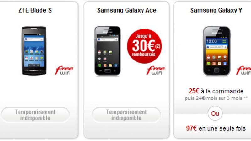 Free Mobile : le Samsung Galaxy Ace et le ZTE Blade S sont temporairement indisponibles