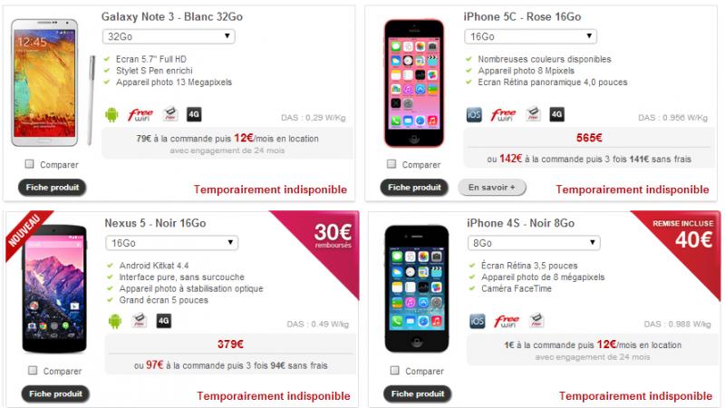 """Boutique Free Mobile : 7 modèles de terminaux """"indisponibles"""" à la vente"""