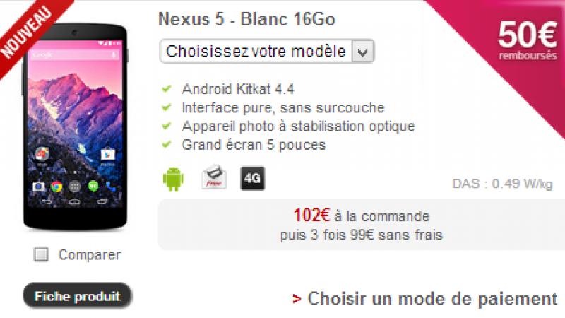 Free Mobile : un nouveau téléphone 4G débarque sur la boutique, le Nexus 5