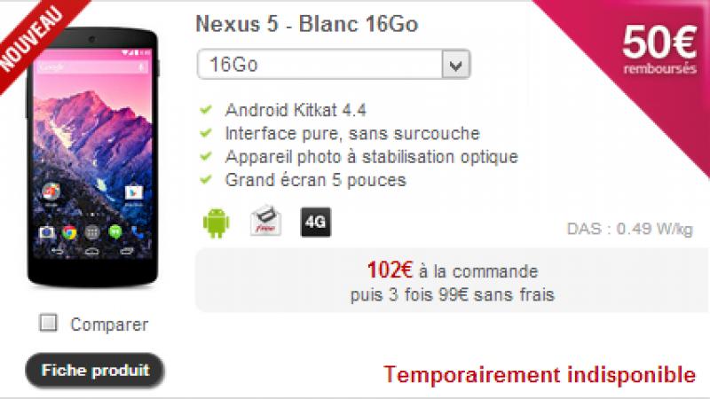 A peine arrivé, le Nexus 5 blanc est indisponible, le point sur les terminaux indisponibles