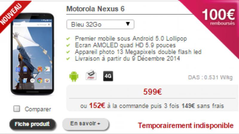 """La précommande du Nexus 6 """"indisponible"""" chez Free Mobile"""
