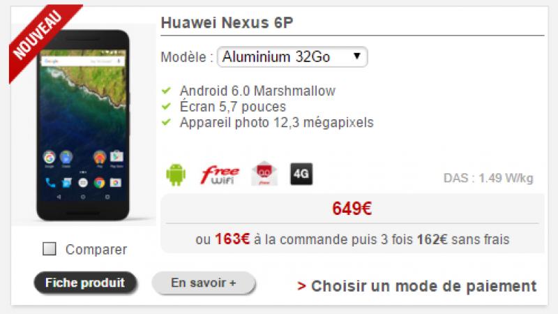 Boutique Free Mobile : Le Nexus 6P est désormais disponible à l'achat