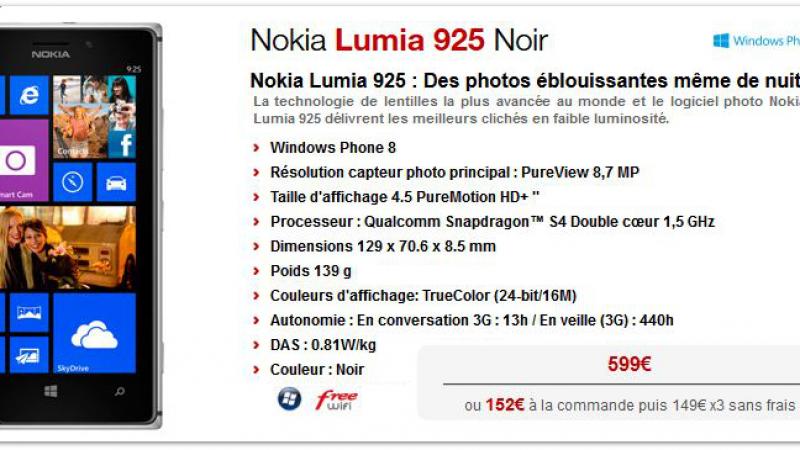 Nokia Lumia 925 : un nouveau smartphone 4G débarque chez Free Mobile !