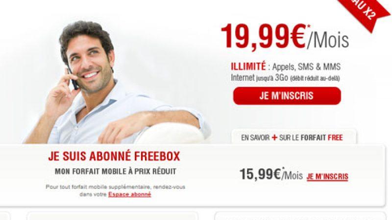 Le site de Free Mobile met en avant la double réduction sur les forfaits illimités