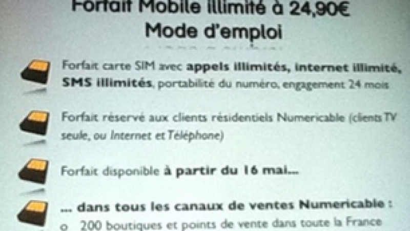 Numericable ajoute un forfait mobile 2h à 9,99 euros par mois