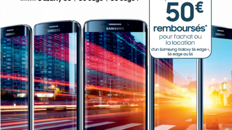 Free Mobile : 50€ remboursés sur toute la gamme des Galaxy S6, aussi bien à la vente qu'à la location