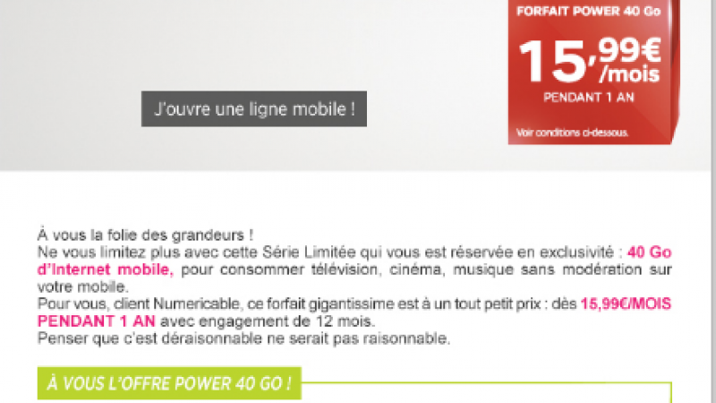 SFR-Numéricable propose à 15,99€, proche de celui de Free Mobile, mais sous plusieurs conditions