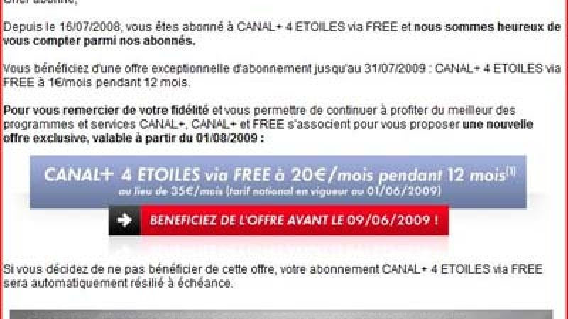 Canal+ veut séduire les abonnés Free de l'opération « Canal+ à 1 euro »