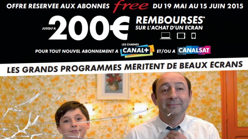 Offres Canal+/Canalsat réservée aux abonnés Free : 200€ remboursés sur une TV, un mobile ou un PC/Mac
