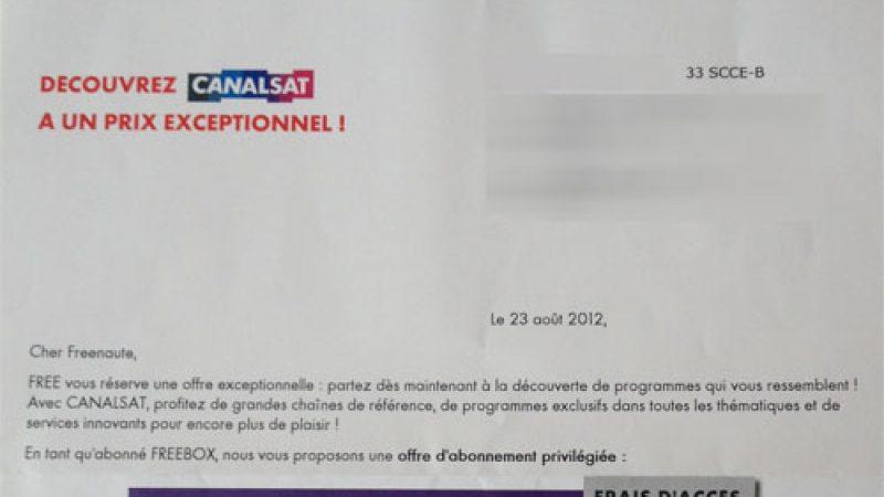 Free et Canalsat envoient un courrier aux Freenautes pour leur annoncer une offre privilège