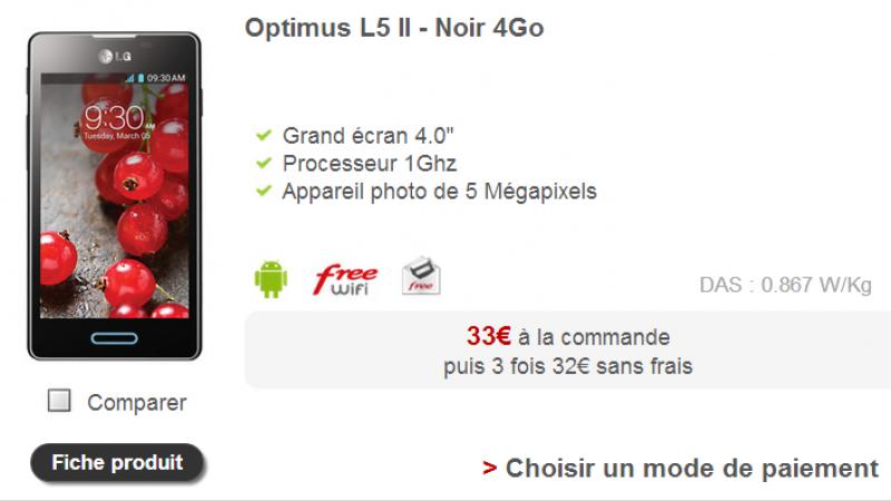 Free Mobile : mise à jour logicielle pour le LG Optimus L5 II