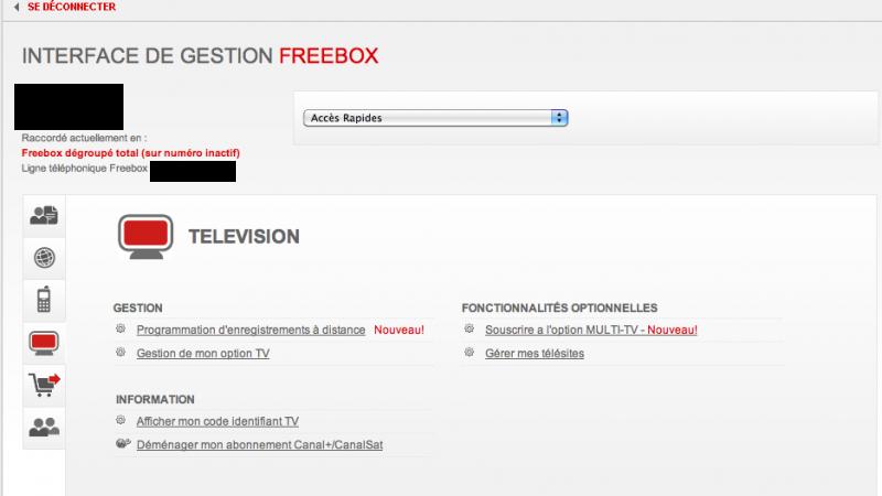 Freebox TV : Option TV disponible