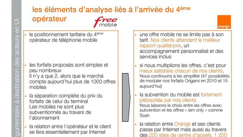 Orange propose un argumentaire à ses salariés pour limiter l'effet Free Mobile