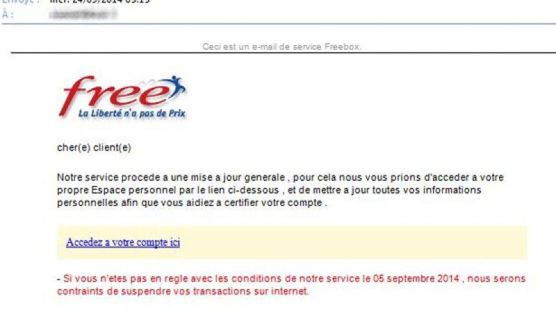 Un phishing vise actuellement les abonnés Freebox